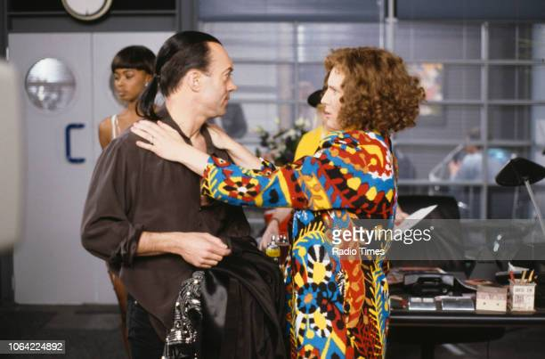Actors Nickolas Grace and Jennifer Saunders in a scene from episode 'Fashion' of the television sitcom 'Absolutely Fabulous', June 28th 1991.