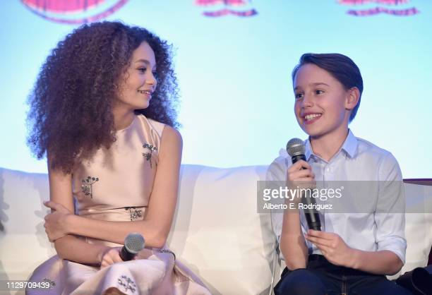 Actors Nico Parker and Finley Hobbins speak onstage during the 'Dumbo' Global Press Conference at The Beverly Hilton Hotel on March 10 2019 in Los...