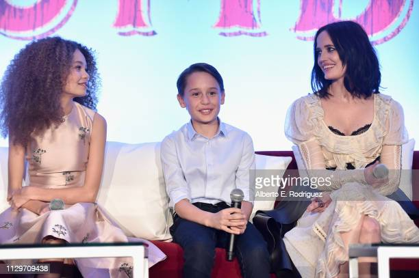 Actors Nico Parker Finley Hobbins and Eva Green speak onstage during the 'Dumbo' Global Press Conference at The Beverly Hilton Hotel on March 10 2019...