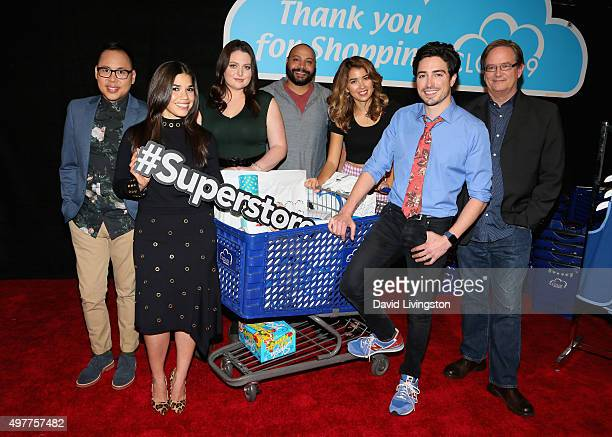 Actors Nico Santos America Ferrera Lauren Ash Colton Dunn Nichole Bloom Ben Feldman and Mark McKinney attend the NBC Comedy Press Junket for...