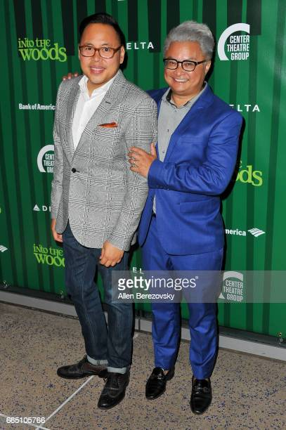 Actors Nico Santos and Alec Mapa attend the opening night of Fiasco Theater's production of Into The Woods at Ahmanson Theatre on April 5 2017 in Los...