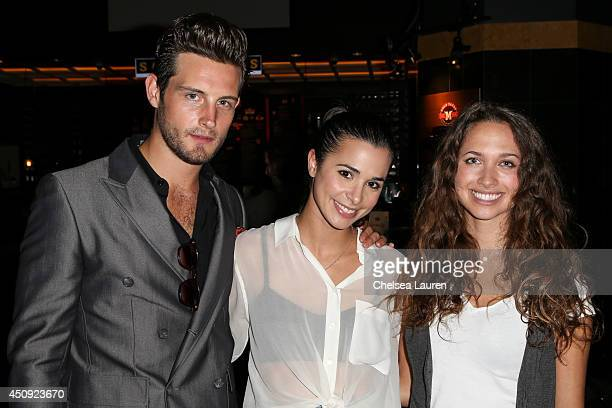 Actors Nico Tortorella Josie Loren and Maiara Walsh arrive at the HollyShorts screening of Chocolate Milk at TCL Chinese Theatre on June 19 2014 in...