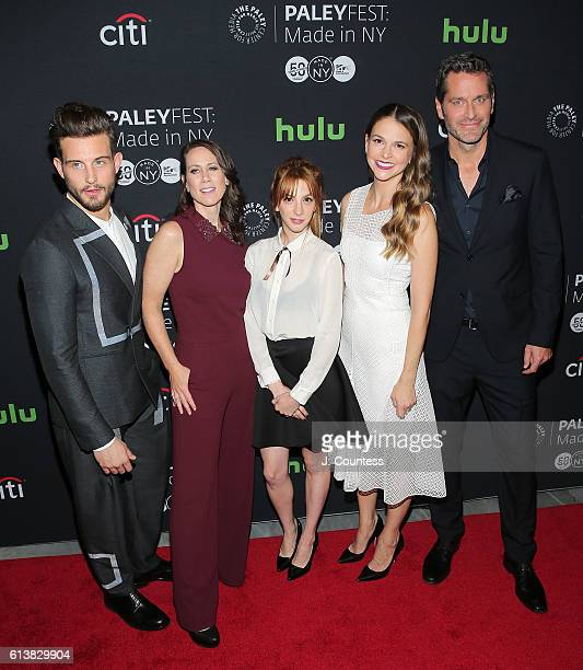 Actors Nico Tortorella Miriam Shor Molly Bernard Sutton Foster and Peter Hermann attend the PaleyFest New York 2016 screening of 'Younger' at The...