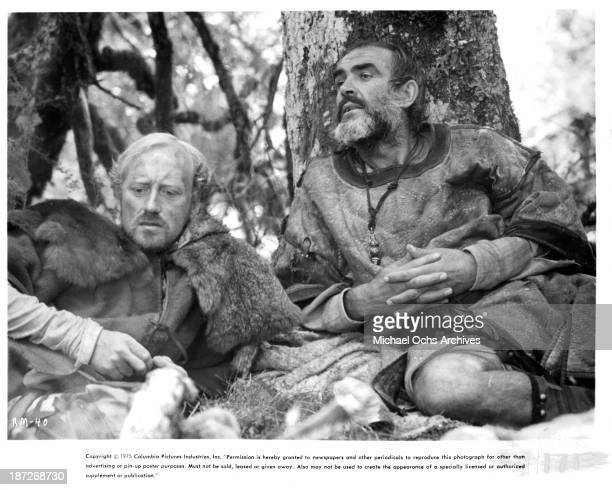 Actors Nicol Williamson and Sean Connery on set of the Columbia Pictures movie Robin and Marian in 1976