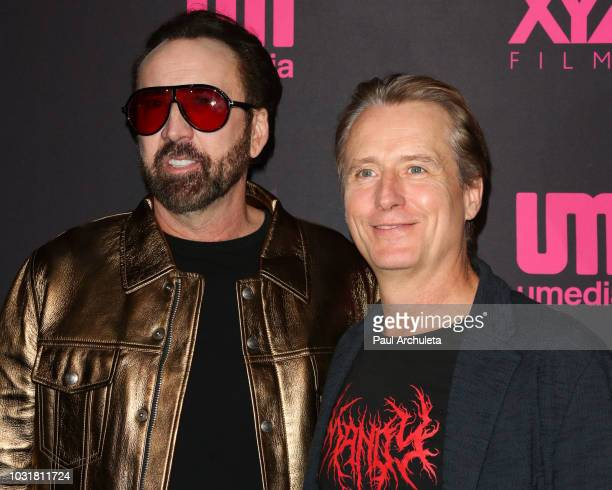 Actors Nicolas Cage and Linus Roach attend the special screening and QA of Mandy At Beyond Fest at the Egyptian Theatre on September 11 2018 in...