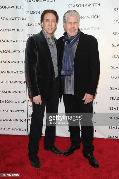 Actors Nicolas Cage and Ron Perlman attend the 'Season of the Witch' premiere at AMC Loews Lincoln Square 13 theater on January 4 2011 in New York...
