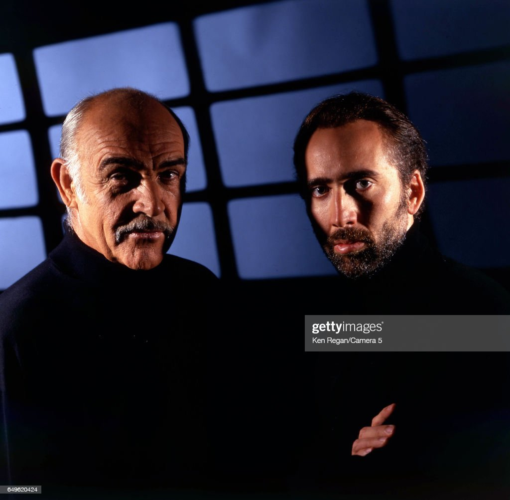 Actors Nicolas Cage and Sean Connery are photographed for Entertainment Weekly Magazine in 1996 in New York, City.