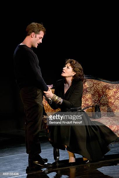 Actors Nicolas Duvauchell and Fanny Ardant perform in 'Des journees entieres dans les arbres' play at the 30th Ramatuelle Festival Day 3 on August 3...