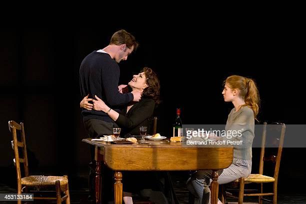 Actors Nicolas Duvauchelle Fanny Ardant and Agathe Bonitzer perform in 'Des journees entieres dans les arbres' play at the 30th Ramatuelle Festival...