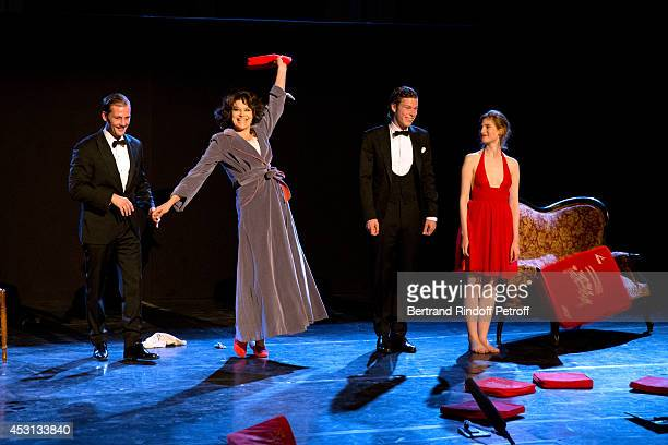 Actors Nicolas Duvauchelle Fanny Ardant JeanBaptiste Jafarge and Agathe Bonitzer during the traditional throw of cushions at the final greeting of...