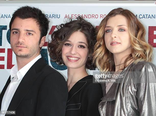 Actors Nicolas Vaporidis Ana Caterina Morariu and Myriam Catania attend Tutto L'Amore Del Mondo photocall at Adriano Cinema on March 15 2010 in Rome...