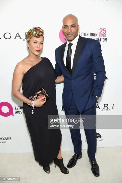Actors Nicole Ari Parker and Boris Kodjoe attend the 26th annual Elton John AIDS Foundation Academy Awards Viewing Party sponsored by Bulgari...