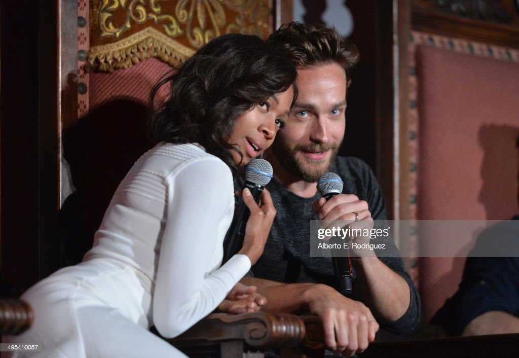 Actors Nicole Beharie and Tom Mison attend a special screening of Fox's 'Sleepy Hollow' at Hollywood Forever on June 2, 2014 in Hollywood, California.