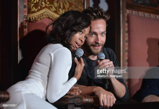 Actors Nicole Beharie and Tom Mison attend a special screening of Fox's 'Sleepy Hollow' at Hollywood Forever on June 2 2014 in Hollywood California