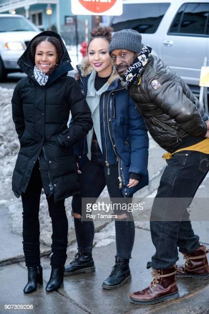 Actors Nicole Beharie Jasmine Cephas Jones and Rob Morgan walk in Park City on January 19 2018 in Park City Utah