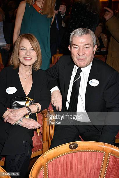 Actors Nicole Calfan and Martin Lamotte attend the 10th Rein Foundation Gala At Theatre des Champs Elysees on March 9 2016 in Paris France