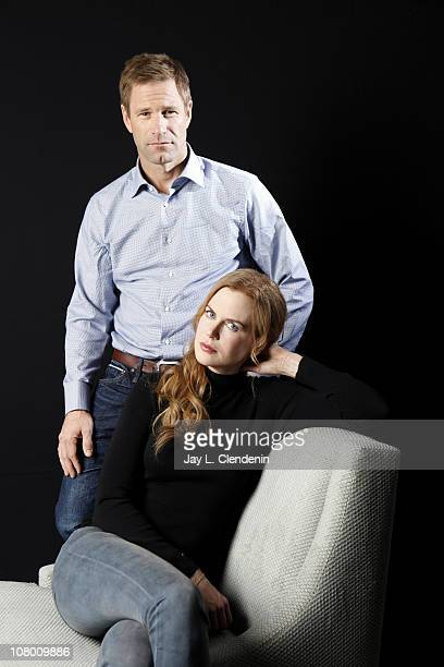 Actors Nicole Kidman and Aaron Eckhart pose for a portrait session on December 7 at the Four Season's hotel in Beverly Hills California Published...