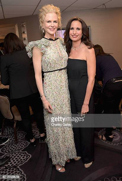 Actors Nicole Kidman and Andie MacDowell pose in the green room during the Hollywood Film Awards on November 6 2016 in West Hollywood California