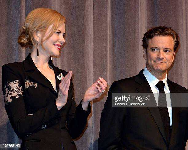 Actors Nicole Kidman and Colin Firth speak at 'The Railway Man' Premiere during the 2013 Toronto International Film Festival at Roy Thomson Hall on...