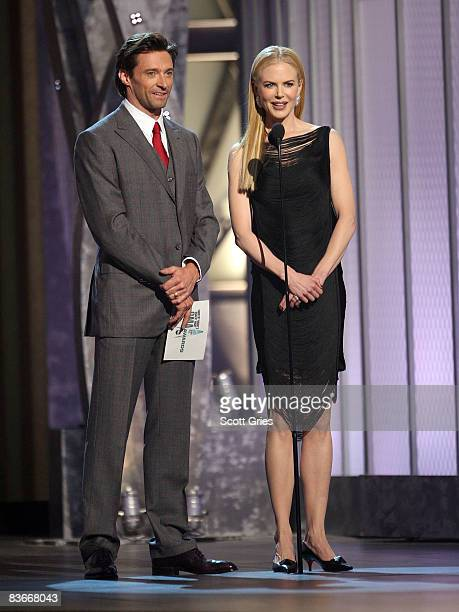 Actors Nicole Kidman and Hugh Jackman appear on stage during the 42nd Annual CMA Awards at the Sommet Center on November 12 2008 in Nashville...
