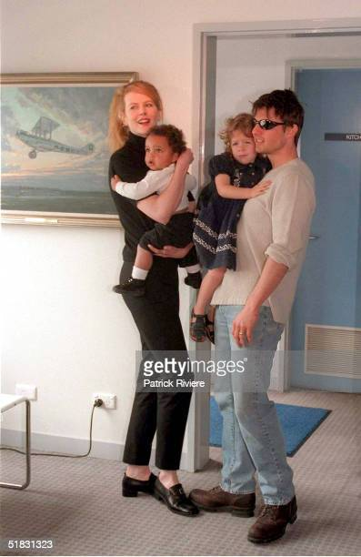 Actors Nicole Kidman and husband Tom Cruise arrive at Sydney Kingsford Smith airport and introduce their children Connor and Isabella to the media...