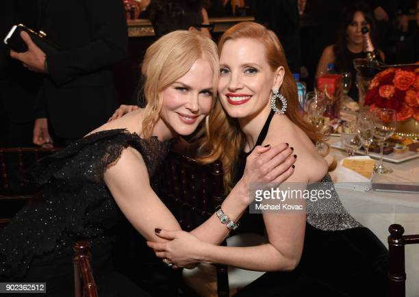 Actors Nicole Kidman and Jessica Chastain celebrate The 75th Annual Golden Globe Awards with Moet Chandon at The Beverly Hilton Hotel on January 7...