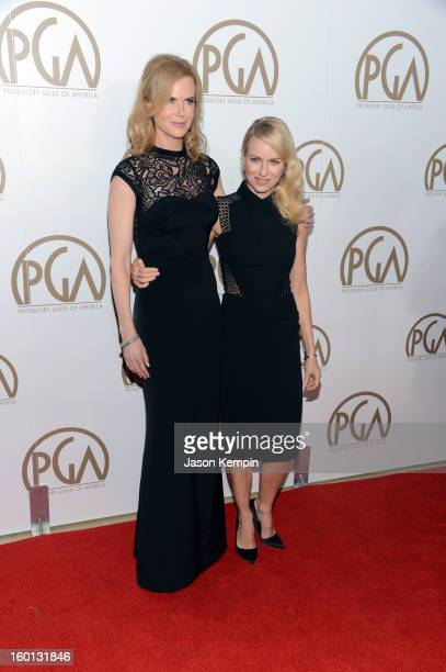 Actors Nicole Kidman and Naomi Watts arrive at the 24th Annual Producers Guild Awards held at The Beverly Hilton Hotel on January 26 2013 in Beverly...