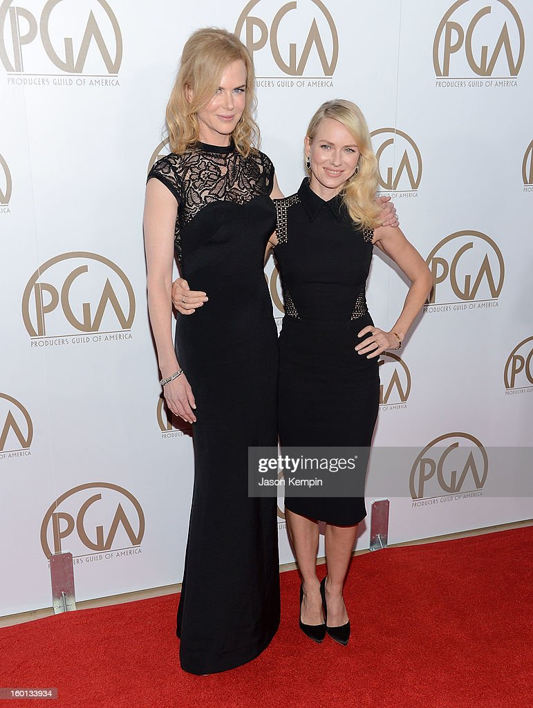 Actors Nicole Kidman (L) and Naomi Watts arrive at the 24th Annual Producers Guild Awards held at The Beverly Hilton Hotel on January 26, 2013 in Beverly Hills, California.