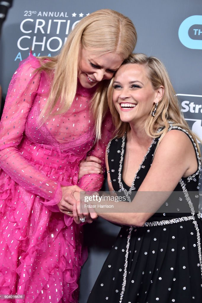 Actors Nicole Kidman (L) and Reese Witherspoon, recipients of the Best Limited Series award for 'Big Little Lies', pose in the press room during The 23rd Annual Critics' Choice Awards at Barker Hangar on January 11, 2018 in Santa Monica, California.