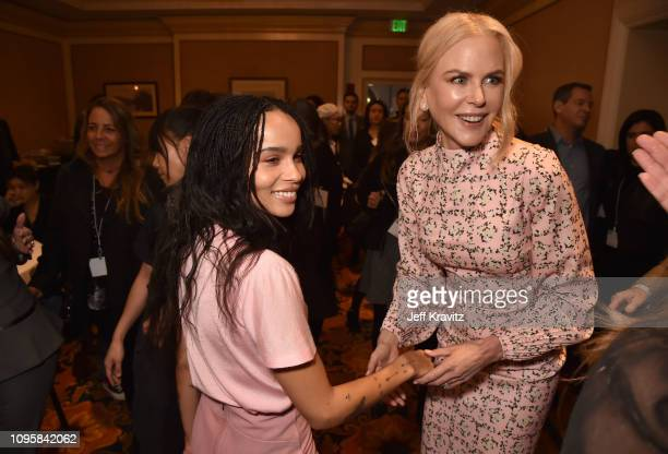 Actors Nicole Kidman and Zoe Kravitz are seen prior to the Big Little Lies panel of the HBO portion of the 2019 Winter TCA on February 8 2019 in...