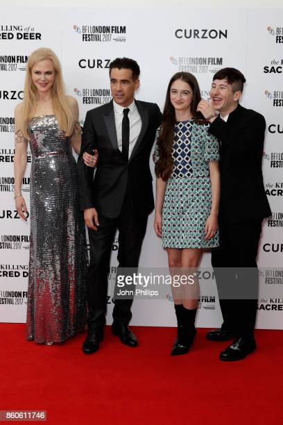 Actors Nicole Kidman Colin Farrell Barry Keoghan and Raffey Cassidy attend the Headline Gala Screening UK Premiere of Killing of a Sacred Deer during...