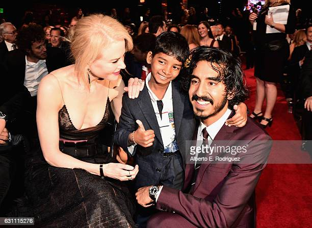 Actors Nicole Kidman Sunny Pawar and Dev Patel attend the 6th Annual AACTA International Awards at Avalon Hollywood on January 6 2017 in Los Angeles...