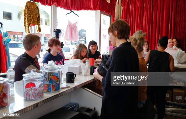 Actors Nicole LaLiberte and Kimmy Robertson speak with fans and patrons at Showtime's 'Twin Peaks' Double R Diner PopUp on Melrose Avenue on October...