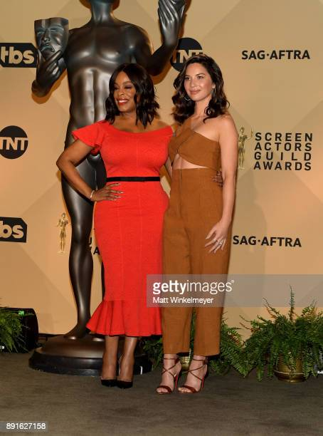 Actors Niecy Nash and Olivia Munn pose during the 24th Annual SAG Awards Nominations Announcement at SilverScreen Theater at the Pacific Design...