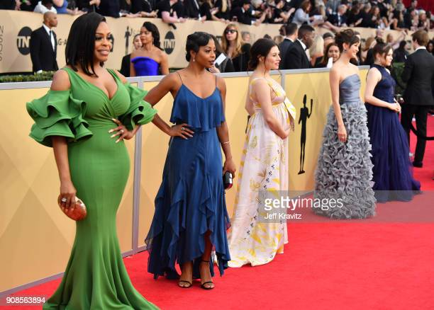 Actors Niecy Nash Bresha Webb Yael Stone Kimiko Glenn and Hannah Zeile attend the 24th Annual Screen Actors Guild Awards at The Shrine Auditorium on...
