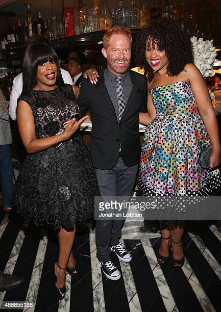 Actors Niecy Nash Jesse Tyler Ferguson and Kellee Stewart attend the Audi Celebrates Emmys Week 2015 at Cecconi's Restaurant on September 17 2015 in...
