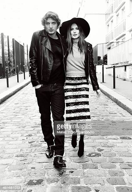 108318044 Actors Niels Schneider and Ana Girardot are photographed for Madame Figaro on December 1 2013 in Paris France Niels Jacket sweater and...