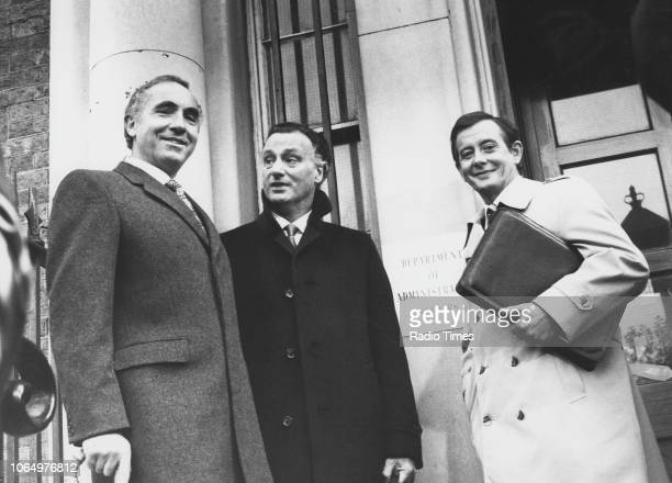 Actors Nigel Hawthorne Paul Eddington and Derek Fowlds in a scene from the television sitcom 'Yes Minister' October 23rd 1982