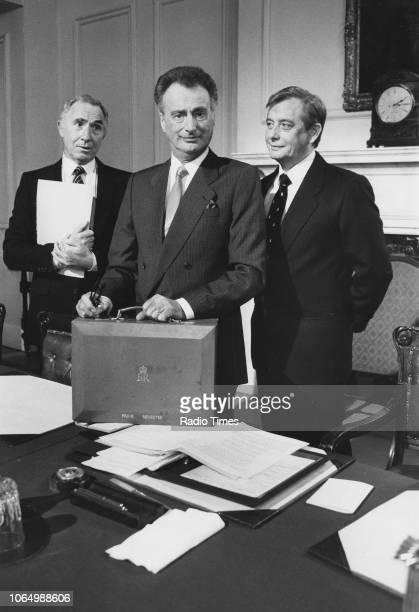 Actors Nigel Hawthorne Paul Eddington and Derek Fowlds in a scene from the television series 'Yes Prime Minister' November 1st 1987