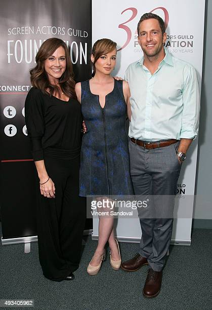 Actors Nikki Deloach Ashley Rickards and Mike Faiola attend The SAG Foundation's Conversations series presents MTV's Awkward at SAG Foundation Actors...