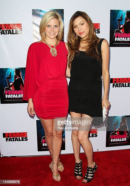Actors Nikki Griffin and Jennifer Roa attend the screening of Cinemax's new series Femme Fatales at ArcLight Hollywood on May 21 2012 in Hollywood...