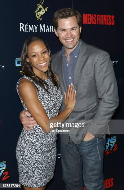 Actors Nikki M James and Andrew Rannells attend the screening of Marvel Studios' 'Guardians Of The Galaxy Vol 2' hosted by The Cinema Society at the...