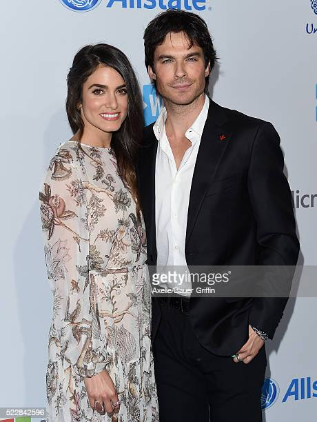 Actors Nikki Reed and Ian Somerhalder arrive at WE Day California at The Forum on April 7 2016 in Inglewood California