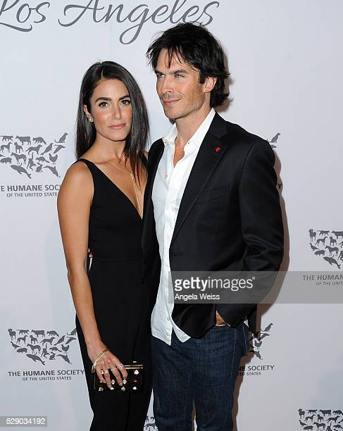 Actors Nikki Reed and Ian Somerhalder attend The Humane Society of the United States' to the Rescue Gala at Paramount Studios on May 7 2016 in...