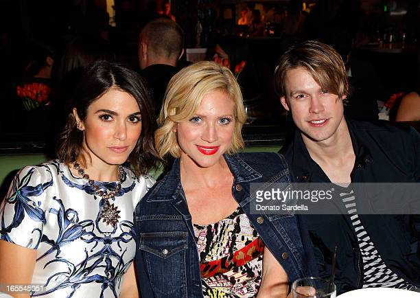 Actors Nikki Reed Brittany Snow and Chord Overstreet attend Vogue's Triple Threats dinner hosted by Sally Singer and Lisa Love at Goldie's on April 3...