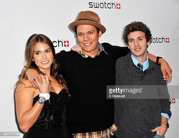 Actors Nikki Reed Chaske Spencer and Connor Fox attend the private launch of the Swatch New Gents Collection at the Gansevoort Park Avenue on October...