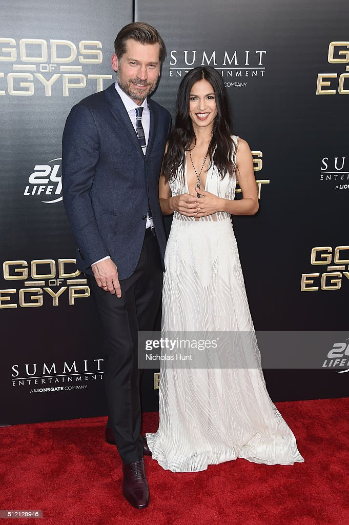 Actors Nikolaj Coster-Waldau (L) and Elodie Yung attend the 'Gods Of Egypt' New York Premiere at AMC Loews Lincoln Square 13 on February 24, 2016 in New York City.