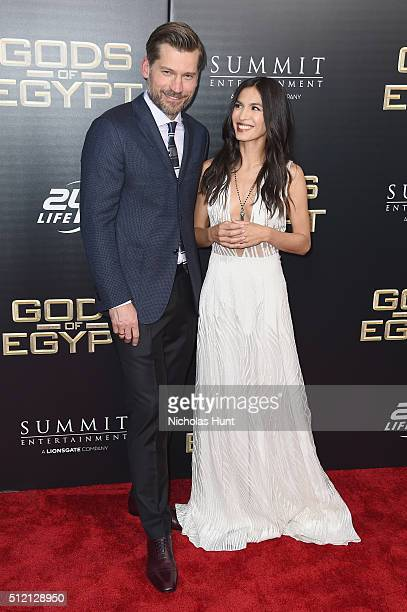 Actors Nikolaj CosterWaldau and Elodie Yung attend the Gods Of Egypt New York Premiere at AMC Loews Lincoln Square 13 on February 24 2016 in New York...