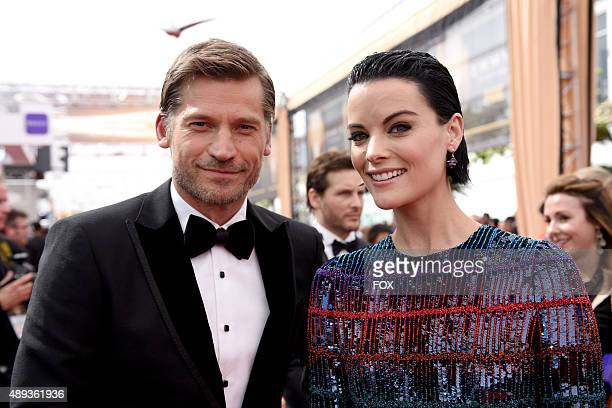 Actors Nikolaj Coster-Waldau and Jaimie Alexander attend the 67th Annual Primetime Emmy Awards at Microsoft Theater on September 20, 2015 in Los...