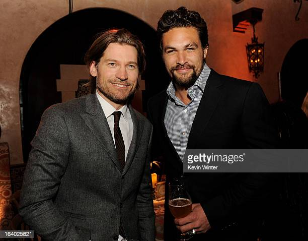 Actors Nikolaj CosterWaldau and Jason Momoa pose at the after party for the premiere of HBO's 'Game Of Thrones' at the Roosevelt Hotel on March 18...